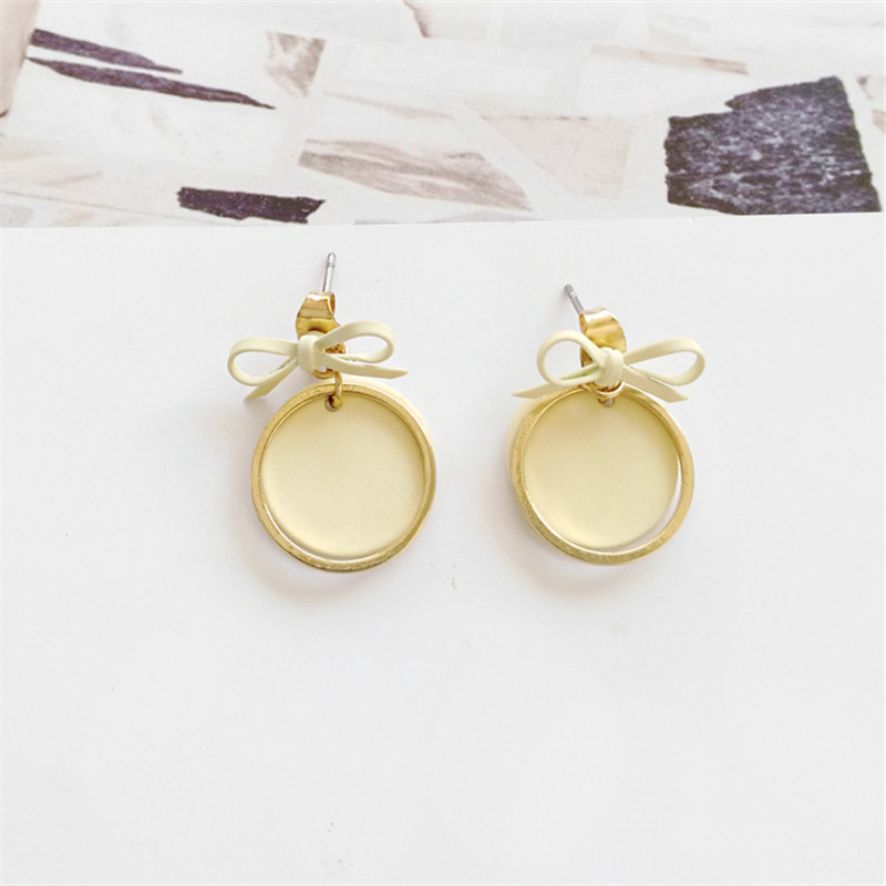 Kshmir simple circle earrings the little girl bowknot earrings pure and fresh and sweet earrings temperament exquisite jewel in Stud Earrings from Jewelry Accessories
