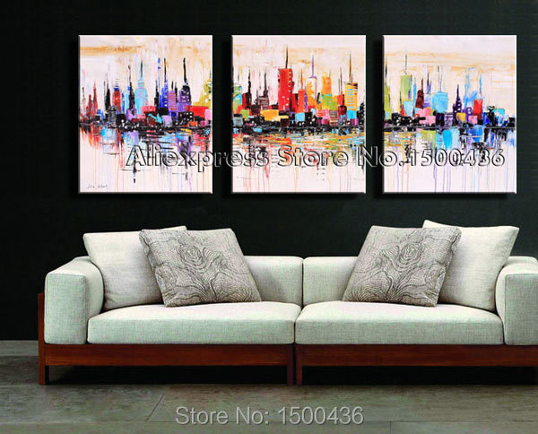 3 canvas art red hand painted piece city canvas art oil painting abstract new york landscape picture wall decor modern setin calligraphy from home