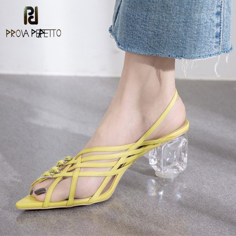 Prova Perfetto Summer Buckled Strappy Sandals Pointed Toe Women sandalias Crystal Heel Shoes Zapatos Transparentes Mujer