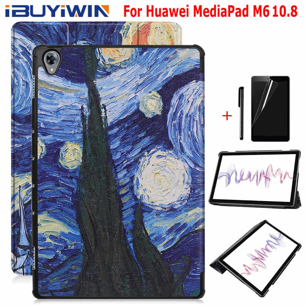 Painted Smart PU Leather Cover For Huawei MediaPad M6 10.8 Inch Tablet Funda Capa Case For Huawei M6 Pro 10.8