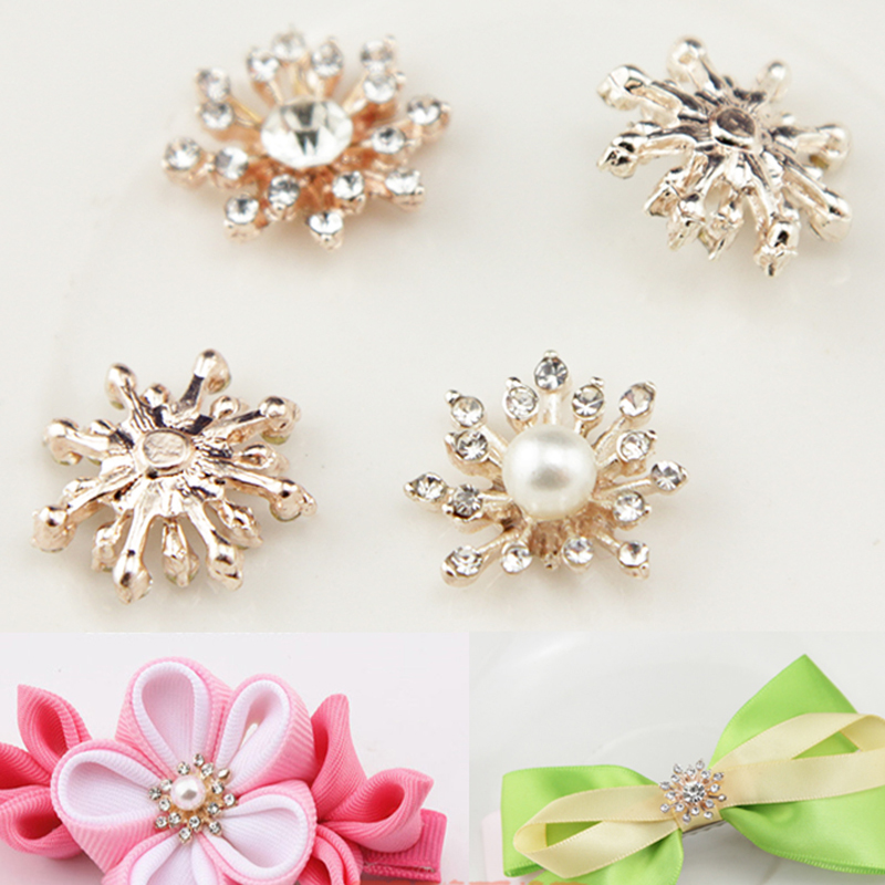 2015New 100Pcs Pearl Rhinestone Buttons/Buckle Embellishment Button DIY Accessories ZJ116