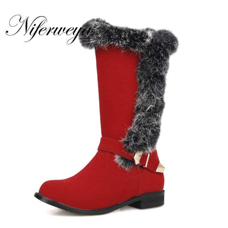 2016 tamaño grande 28-52 invierno mujer zapatos hebilla decoración - Zapatos de mujer