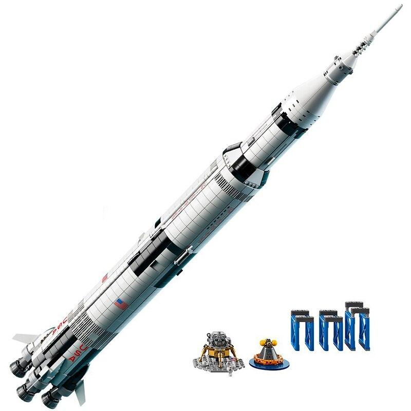 1969Pcs Creative Series fit legoing idea The Apollo Saturn V Launch Vehicle Set Children Educational Building