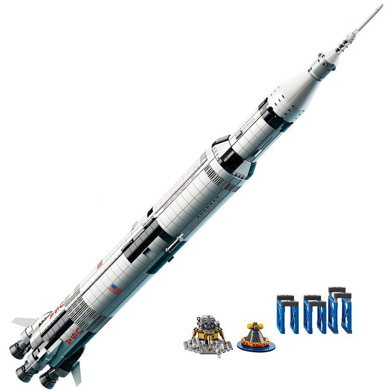 37003 1969Pcs Creative Series The Apollo Saturn V Launch Vehicle Set Children Educational Building Blocks Bricks Toy 21309 1969pcs apollo saturn v model building blocks 37003 assemble children kid toy bricks compatible with lego