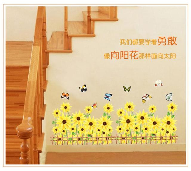 beautiful pink/yellow flower border decor butterfly Kids room decor ...