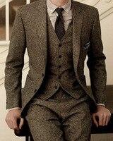Nieuwste Jas Broek Ontwerpen Merk Bruin Tweed Pak Mannen Set Slanke Fit Custom Bruiloft Pakken voor Mannen Jas Broek 3 Stuk Blazer Tuxedo