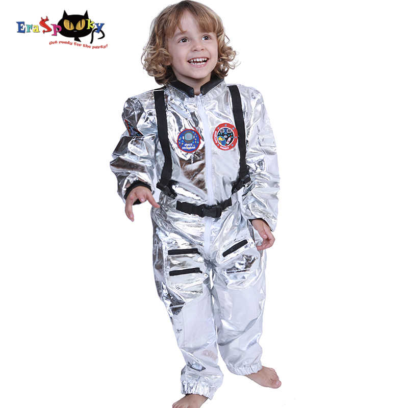 Eraspooky Boys Spaceman One-piece Jumpsuit Silver Astronaut Cosplay Children Pilot Uniform Halloween Costume Kids Party Outfit