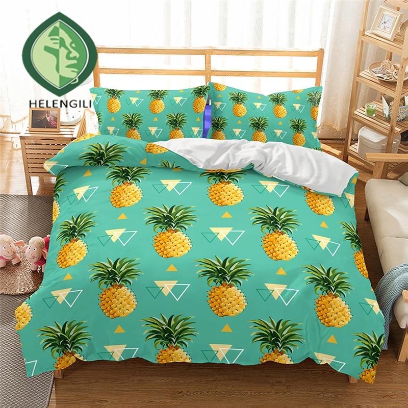 3d Bedding Set Pineapple Print Duvet Cover Set Twin Queen