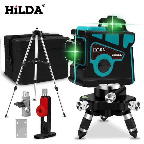 HILDA лазерный уровень 12 линий 3D уровень самонивелирующийся 360 горизонтальный и вертикальный крест супер мощный зеленый лазерный уровень - Цвет: SET5
