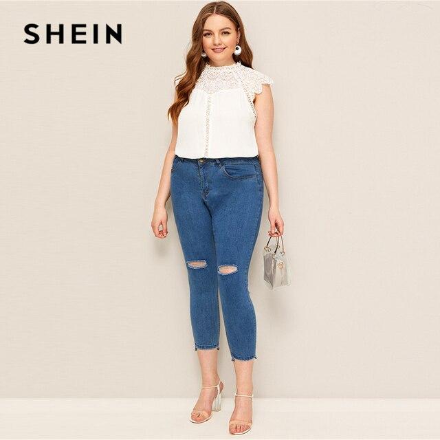 SHEIN Plus Size White Mock-Neck Guipure Lace Yoke Top Blouse 2019 Women Summer Elegant Contrast Lace Cap Sleeve Button Blouses 3