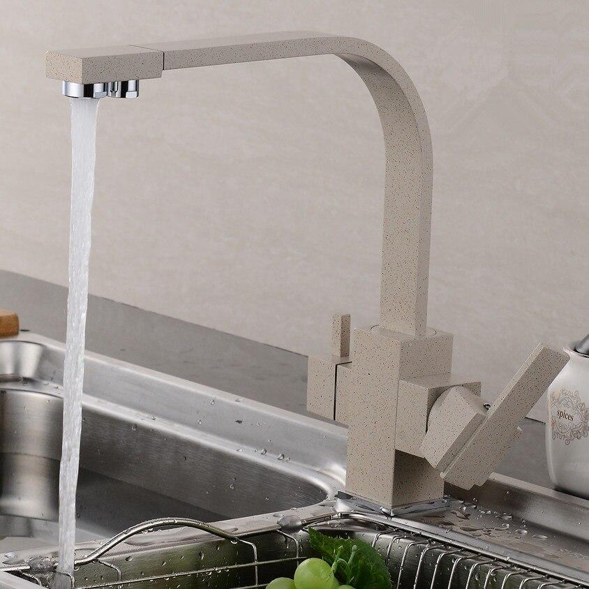 Quartz, robinet de peinture couleur avoine, évier de cuisine rotatif chaud et froid en cuivre, purificateur d'eau à trois entrées, robinet