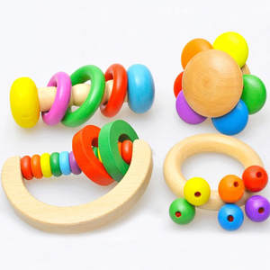 Kids 2018 Wooden Baby Rattles Grasp Play Game Teething Infant Early Musical Educational Toys  Newborn 1 years birthday Gift