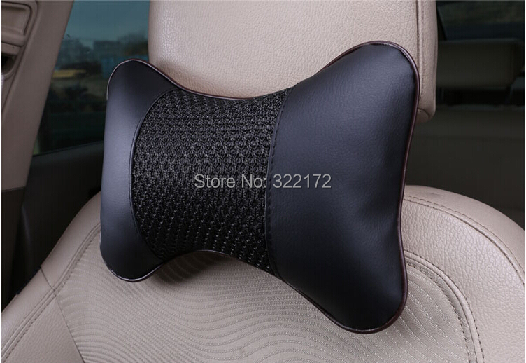 Car Headrest Neck Pillow Auto Seat Cover Waist Cushion Danny Leather Meryl Black Color Retail/Lot - SHENZHEN LIGHTUP TECHNOLOGY CO.,LTD. store