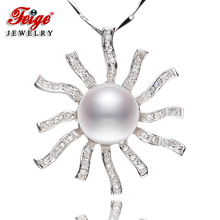 Flower-shaped Genuine 925 Silver Big Pendant Necklaces For Women's 10-11mm White Natural Freshwater Pearls Fine Jewelry flower shaped genuine 925 silver pendant necklaces for women s 9 10mm white natural freshwater pearls fine jewelry