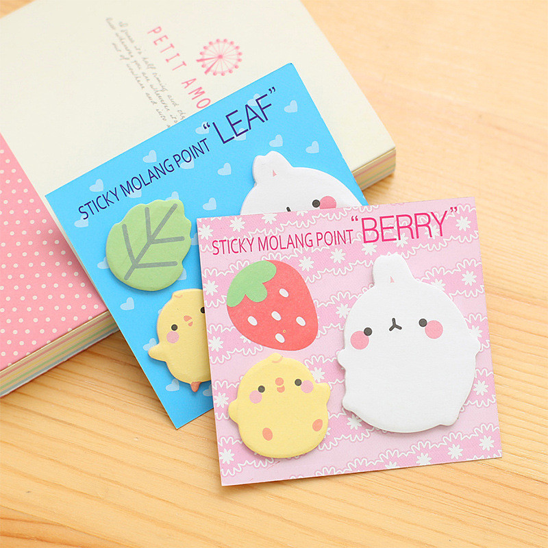 Korean Cute Kawaii Molang Sticker Memo Pads Rabbit Pink Stationery Store Post it Sticky Note Notepad Escritorio Office Accessory