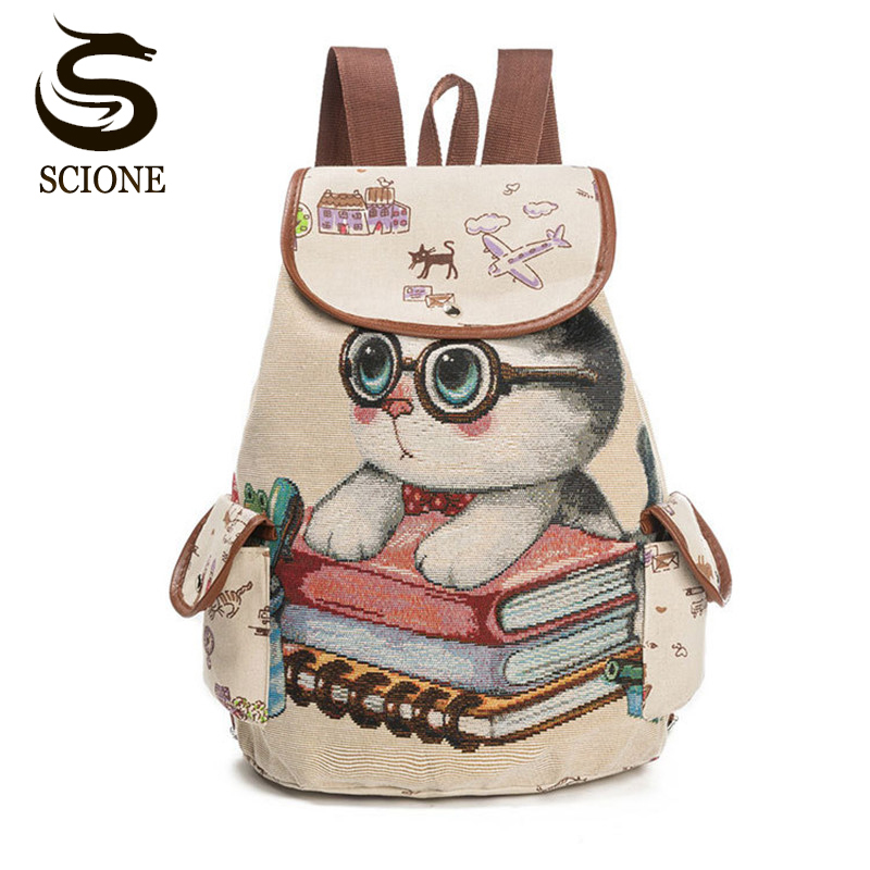 Scione Cute Cat Backpack Women Girls Canvas Backpack Drawstring Printing Backpacks For Teenage Girls Large Capacity School Bag