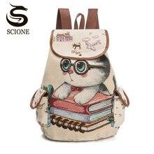 Canvas Backpack Drawstring-Printing Teenage-Girls Women School-Bag Large-Capacity Scione