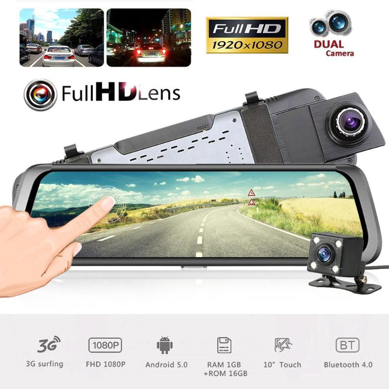 VODOOL Car DVR Dash Camera 10in Full Touch Screen Dual Lens BT 3G WiFi Android 5.1 Car Rearview Mirror GPS Navigator DVR Camera mymei car 7 0 touch android car dvr camera radar detectors parking rearview navigator