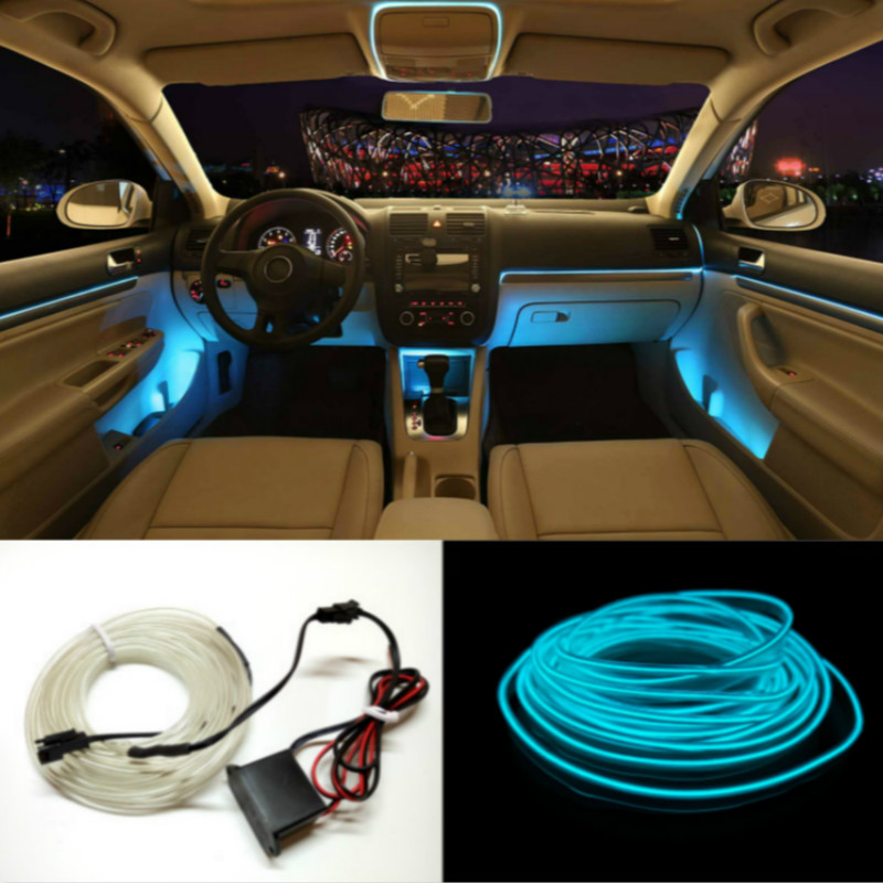 JURUS 5 M 10 Colori Styling Auto FAI DA TE EL Fredda Linea flessibile Decorazione Interna Moulding Trim Strisce di Luce Per Moto e auto