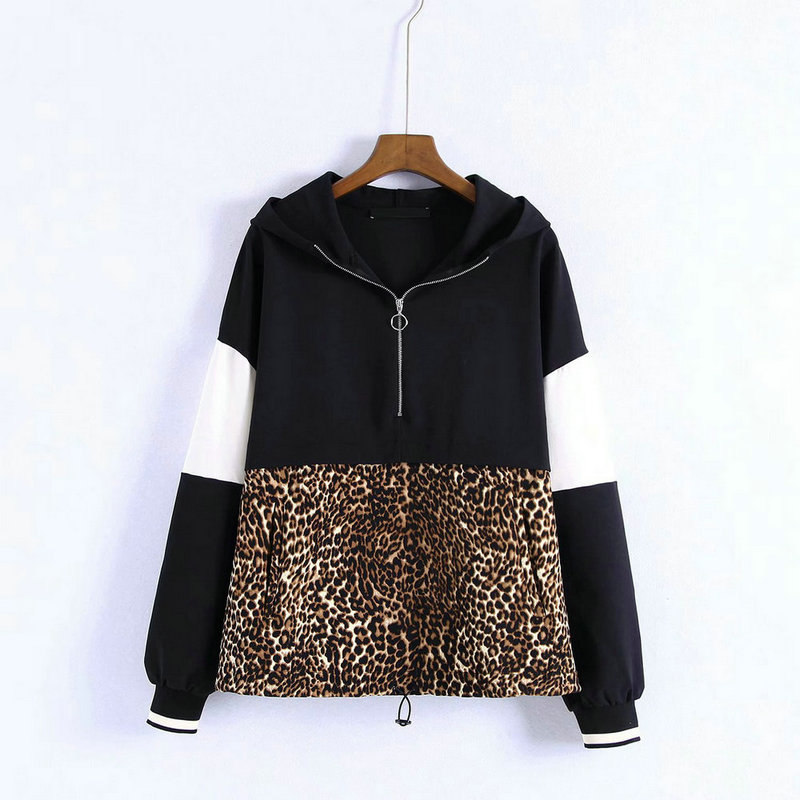 ZOGAA Women Leopard Hooded Sweatshirts Animal Pattern Patchwork Pockets Drawstring Tie Pullovers Female Casual Chic Tops Hoodie