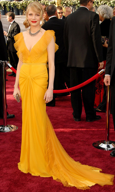 Custom Made Yellow Full Length Michelle Williams Celebrity Dresses