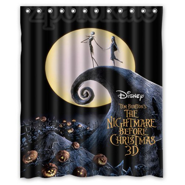 Custom The Nightmare Before Christmas Shower Curtain High Quality Waterproof Polyester Fabric Bathroom Curtains