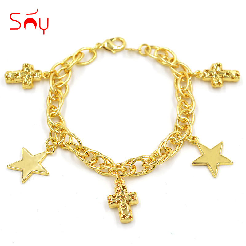 Sunny Jewelry Fashion Bracelet Charms Fashion Jewelry 2021 For Women High Quality Copper Cross Star For Party Wedding Daily Gift