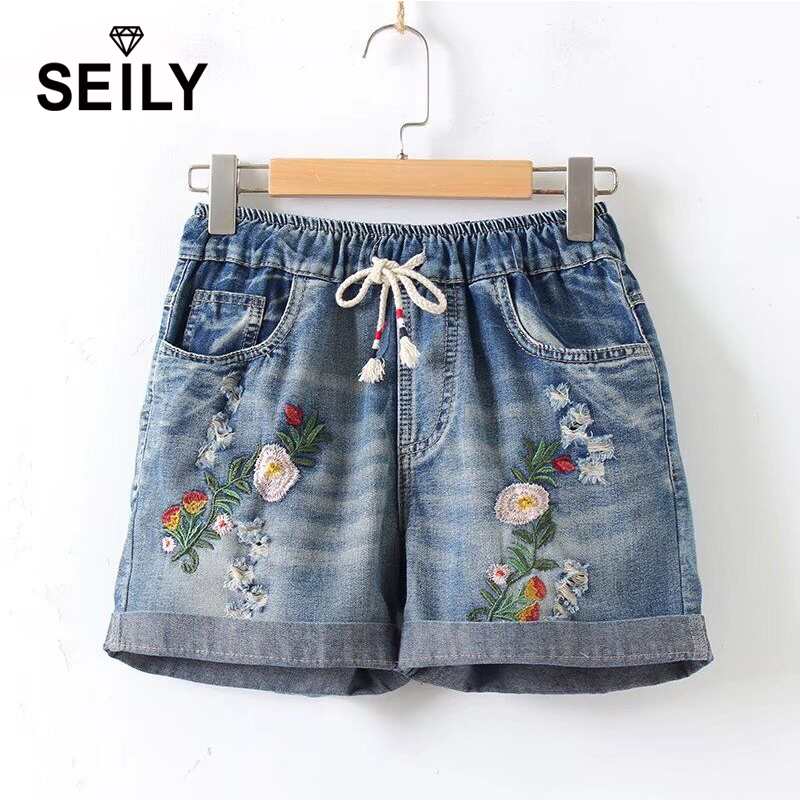 Plus Size Embroidery Flower Denim   Shorts   Women Casual Elastic High Waist Loose Pocket Jeans Cotton   Shorts   With Belt   Short   Femme