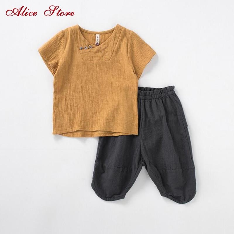 Hot sale baby boy's kleding set van hoge kwaliteit linnen korte mouw t-shirt + shorts kinderen meisje top + broek gratis verzending