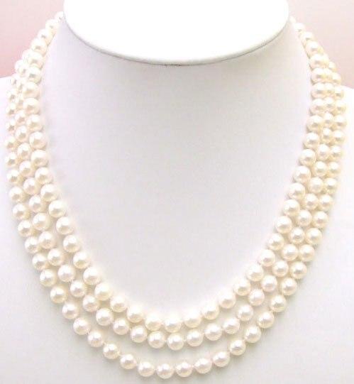 AAA 6-6.5mm naturel AKOYA eau salée perle 3 cordes collier en argent Sterling S925 fermoir-5229 vente en gros/détail livraison gratuite