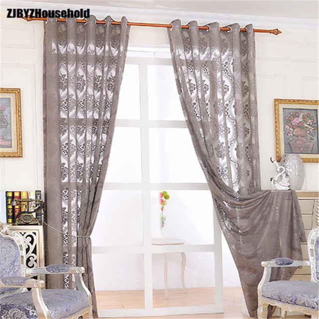 US $13.4 33% OFF|European and American Jacquard Gray Screen Window Curtains  for Living Dining Room Bedroom-in Curtains from Home & Garden on ...