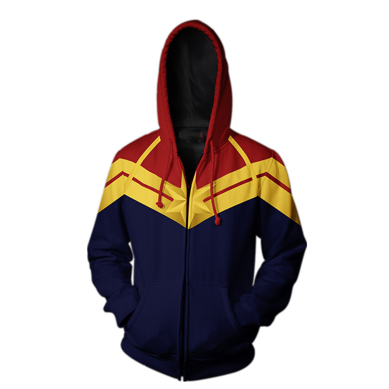 Movie Captain Marvel Zip Up Hoodie Sweatshirt Coat Jacket Cosplay Costume New