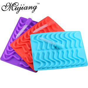 Image 3 - Mujiang 20 Cavity Silicone Gummy Snake Wormen Chocolade Schimmel Suiker Candy Jelly Mallen Ice Tube Tray Mold Cake Decorating Gereedschap