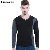 2016 Men S V Neck Long Sleeve T Shirt Korean Fashion Cotton Slim Fitted T Shirt