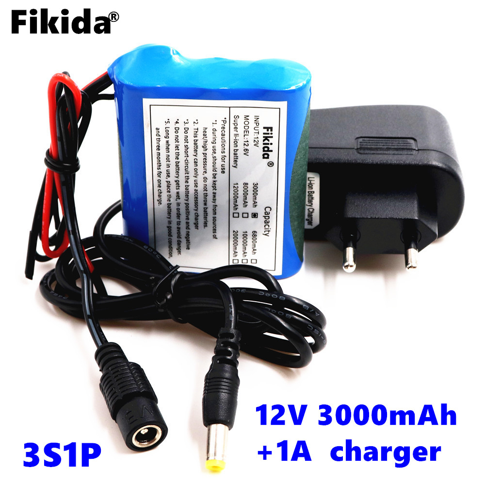 Fikida original protection plate battery pack 12V 3000mAh 18650 lithium ion DC12V super rechargeable battery + 1A charger