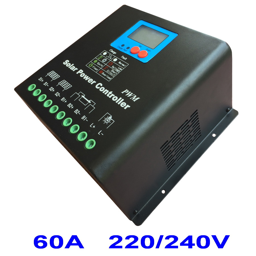 60A 220V or 240V Solar Charge Controller, High Voltage Battery Regulator 60A for 15KW PV Panels Modules, Dual-fan cooling60A 220V or 240V Solar Charge Controller, High Voltage Battery Regulator 60A for 15KW PV Panels Modules, Dual-fan cooling