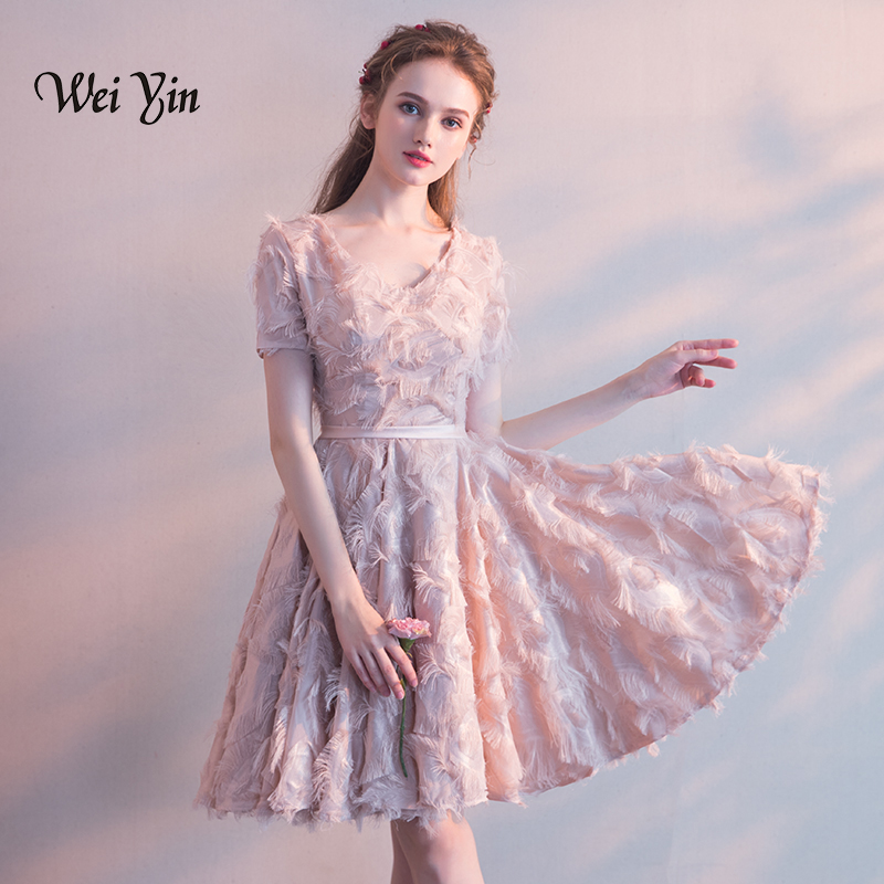 weiyin Lace   Cocktail     Dresses   Women Elegant White V-neck Summer   Cocktail   Party Short Formal   Dresses   Women's Vestidos WY820