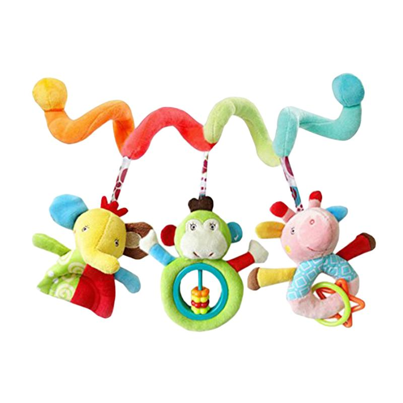 Newborn Baby Crib Hanging Toy Wrap Around Crib Rail Spiral Stroller Dolls Cute Baby Early Educational Toys Gift for Kids