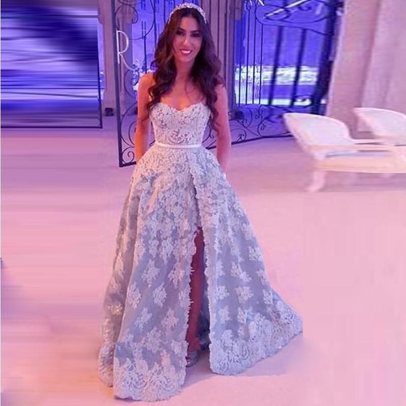 Baratos Amarillo de encaje larga cabida prom dress elegante vestido ...