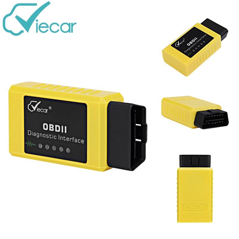 VieCar VC003-A OBDII 2 ELM327 interfaz de diagnóstico herramientas de exploración del coche de Bluetooth 2,0 escáner de diagnóstico para Android Torque/Windows