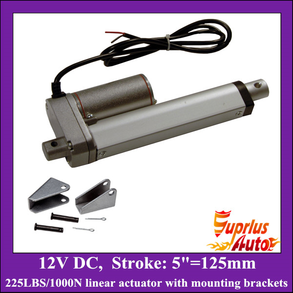 5inch/ 125mm stroke DC 12v linear actuator with mounting brackets, 1000N/225lbs load electric linear actuators free shipping dc 12v 5inch 125mm linear actuator 1000n 100kgs 225lbs thrust load line actuator with mounting brackets