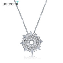 LUOTEEMI White Gold Plated Sparkling Clear Zircon Micro Paved Sunshine Pendant Necklace for Women Wedding Engagement Gift Bijoux