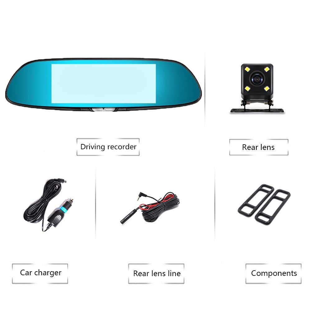 Smart Car DVR Camera Daul Lens Auto Video Recorder Full HD 1080P 7 Inch Touch Screen Rear View Mirror Dash Cam  Russian Version