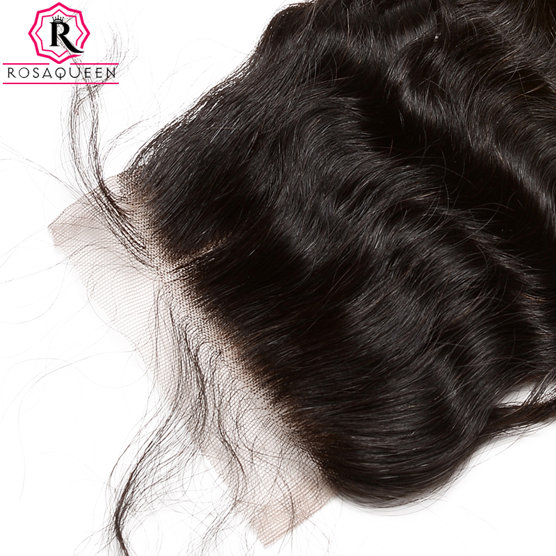 Deep Wave 5x5 Lace Closure Brazilian Human Hair Lace Closure Bleached Knots Pre Plucked With Baby Hair Free Part Rosa Queen Remy