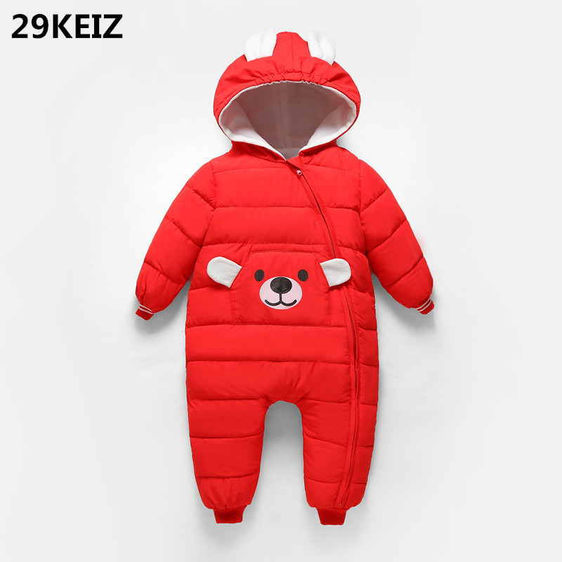 29KEIZ 6 12 24M Baby Winter Cotton Rompers Solid Red Infant Snow Wear Bear Pattern Girls Boys Jumpsuit Hooded Kids Outwear Coat winter baby snowsuit baby boys girls rompers infant jumpsuit toddler hooded clothes thicken down coat outwear coverall snow wear