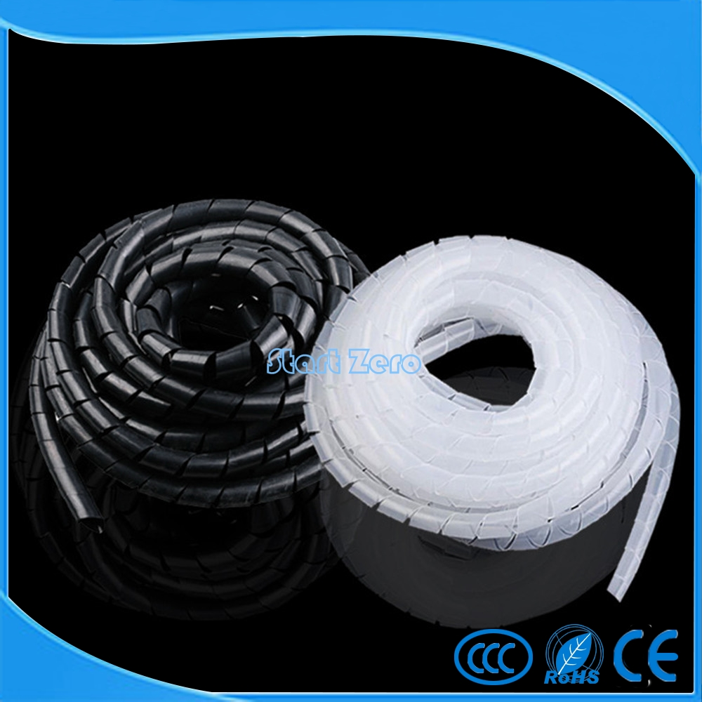 Flame retardant Black or White spiral bands diameter 4~10MM About Cable casing Cable Sleeves Winding pipe flame retardant 15meter length id 6mm black spiral wrapping cable casing cable sleeves winding pipe wrapping band for 3d printer
