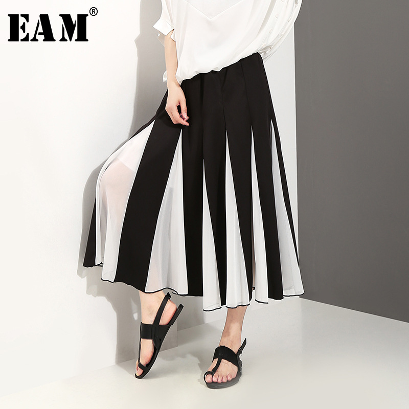 [EAM] 2018 New Summer High Elastic Waist Black Hit Color Pleated Split Joint Half-body Skirt Women Fashion Tide All-match JG207