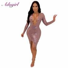Сексуальное асимметричное платье до середины икры adogirl с