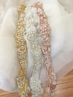 Vintage Style Rhinestone Beaded Sash Bridal Belt Applique in Rose Gold Silver or Gold, Birdal Gown Embellishment