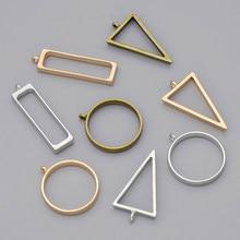 10 pçs rack chapeamento liga moldura aberta moldura em branco resina diy pressionado redondo triângulo pingentes bronze oco jóias acessórios